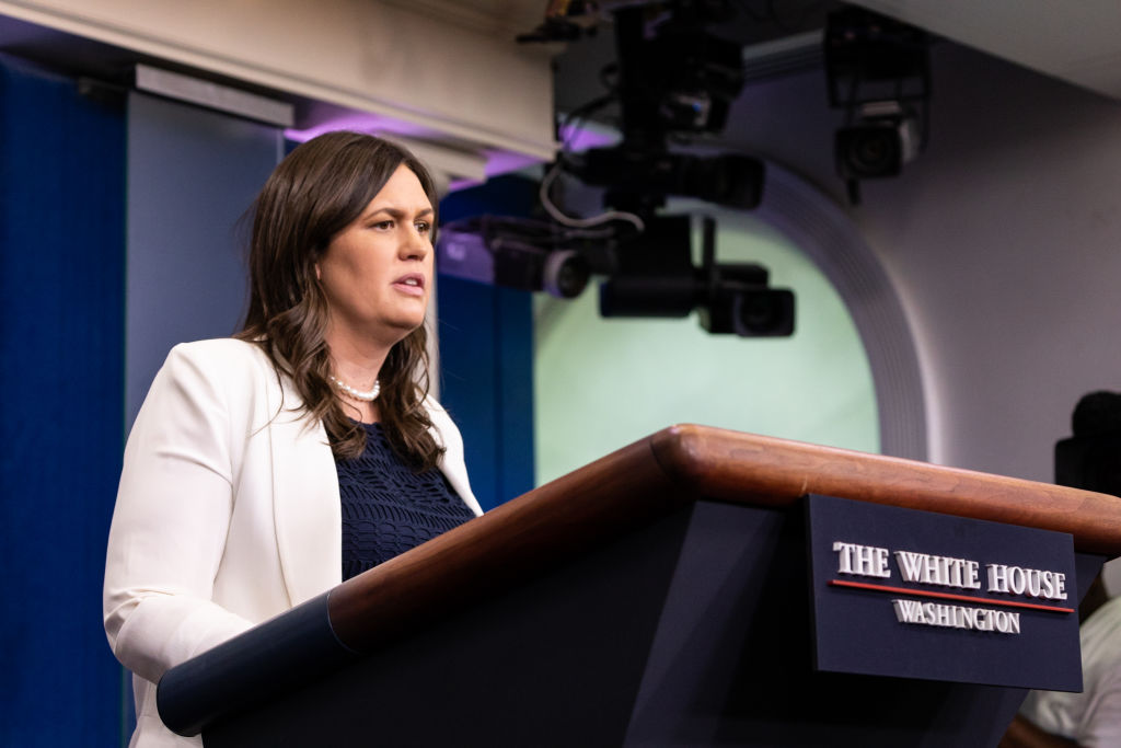 White House Press Secretary Sarah Huckabee Sanders, speaks during a press briefing in the James S. Brady Press Briefing Room of the White House, in Washington, D.C., on Thursday, June 7, 2018.  (Photo by Cheriss May/NurPhoto)