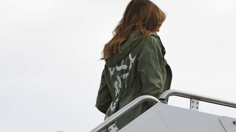 First lady's shelter visit overshadowed by jacket