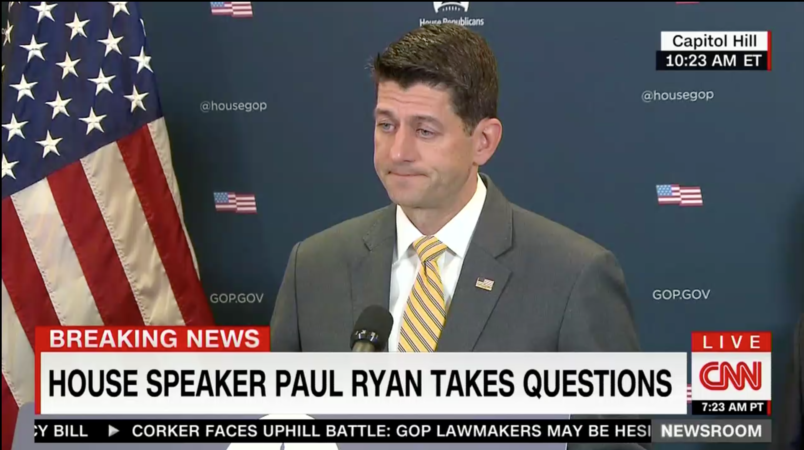 Top Republican Paul Ryan says Trump shouldn't pardon himself