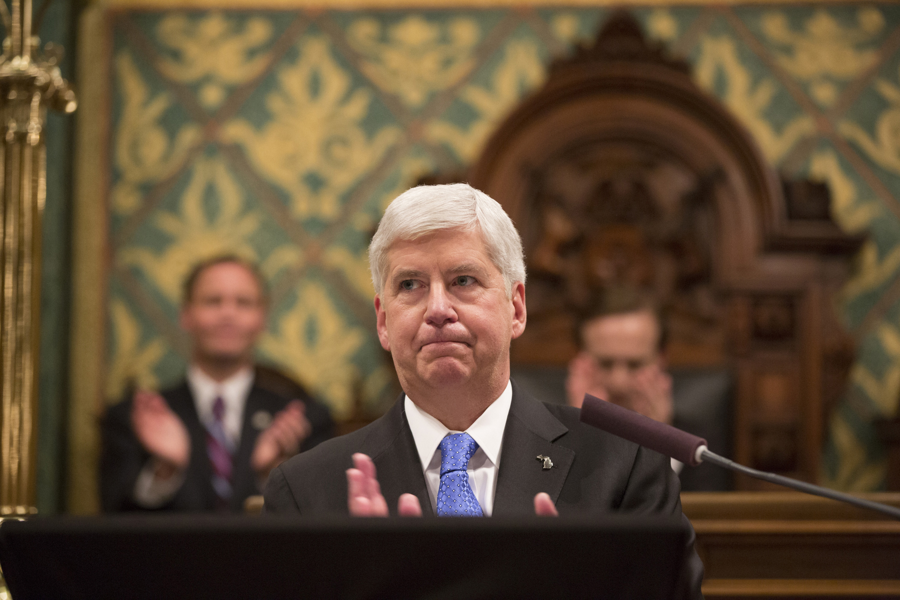 Michigan Gov. Rick Snyder delivers his State of the State in the House of Representatives Chamber on Jan. 23, 2018, at the State Capitol in Lansing, Mich. (Junfu Han/Detroit Free Press/TNS)